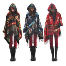 Automne Hiver Mode Femmes Bohemia Cachemire Cape Manteau