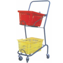 Double basket trolley/Wire metal shopping trolley/Popular two tier carts