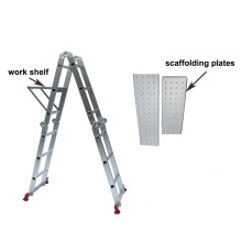 Multifunction step ladder H type aluminum telescopic safe scaffolding with wheels