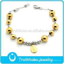 TKB-B0168 Vente en gros Stretch Perlé Plaqué Or Catholique Saint Fermoir de Bracelet Réglable
