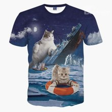 Camisa de playa con estampado de gato titanic couple