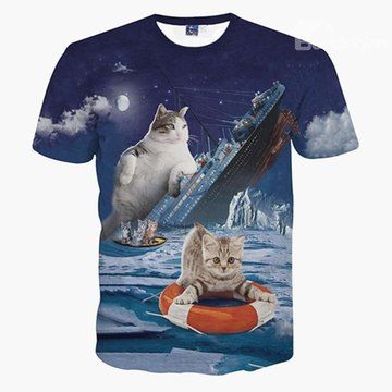 Camisa de playa con estampado de gato titanic couple