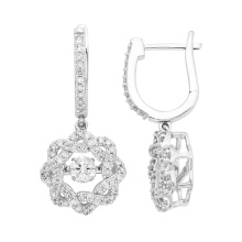 Tanzender Diamant-Schmucksachen 925 Silber baumeln Ohrringe