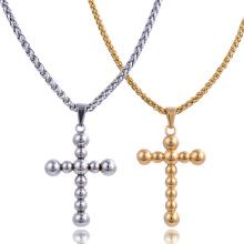 Colgante cruzado chapado en oro de la joyería de la religión del acero inoxidable