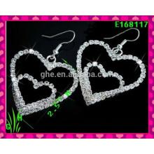 El último diseño Pendientes de gota grande hermoso ornamento, nuevo rhinestone Pendientes de doble corazón