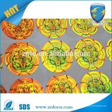 Feito na China varejo cor impressora ouro personalizado diy holograma adesivo, diy holograma adesivo personalizado