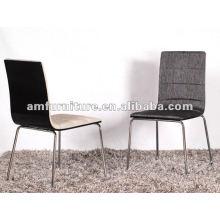 Nova cadeira de jantar estilo com assento de pano e costas e pernas cromadas