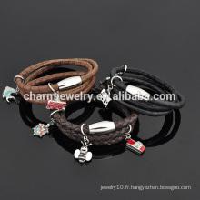 Bracelet Cuir en Cuir personnalisé en acier inoxydable Bracelet pour Femme Vente en gros SW-LB021
