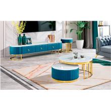 Soporte de TV de mesa de centro con cubierta de mármol de lujo