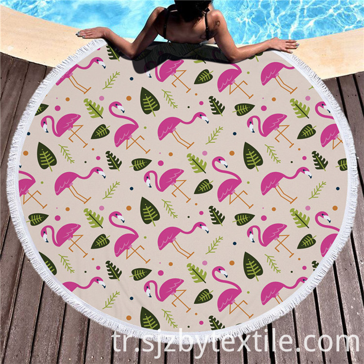 Round Bright Pink And Blue Beach Towel