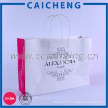 2016 personnalisé imprimé blanc sac en papier kraft