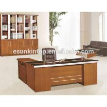 Secretária de escritório moderna de vidro de melamina Foshan com mesa lateral em forma de L