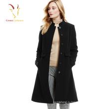 Дамы черный корейский длинные зимние пальто кашемир шерсть пальто