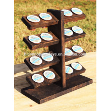Retail Store Commercial Display Table Top 5-Tier 16 Pieces Portable Dark Solid Wooden K-Cup Holder