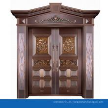 Diseño de casa moderna puerta exterior doble cristal templado puerta de cobre puro villa entrada puerta
