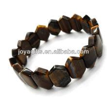 Tigereye gemstone hexágono Espaçador contas esticar pulseira