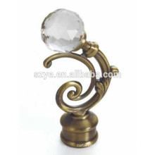 Elegant aluminum and crystal material curtain accessories curtain rod finials