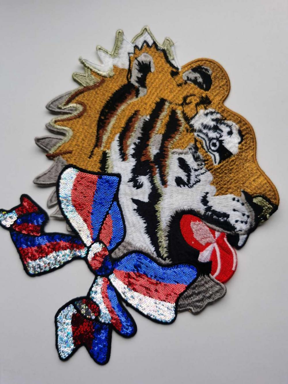 Tiger Head Embroidery Sticker