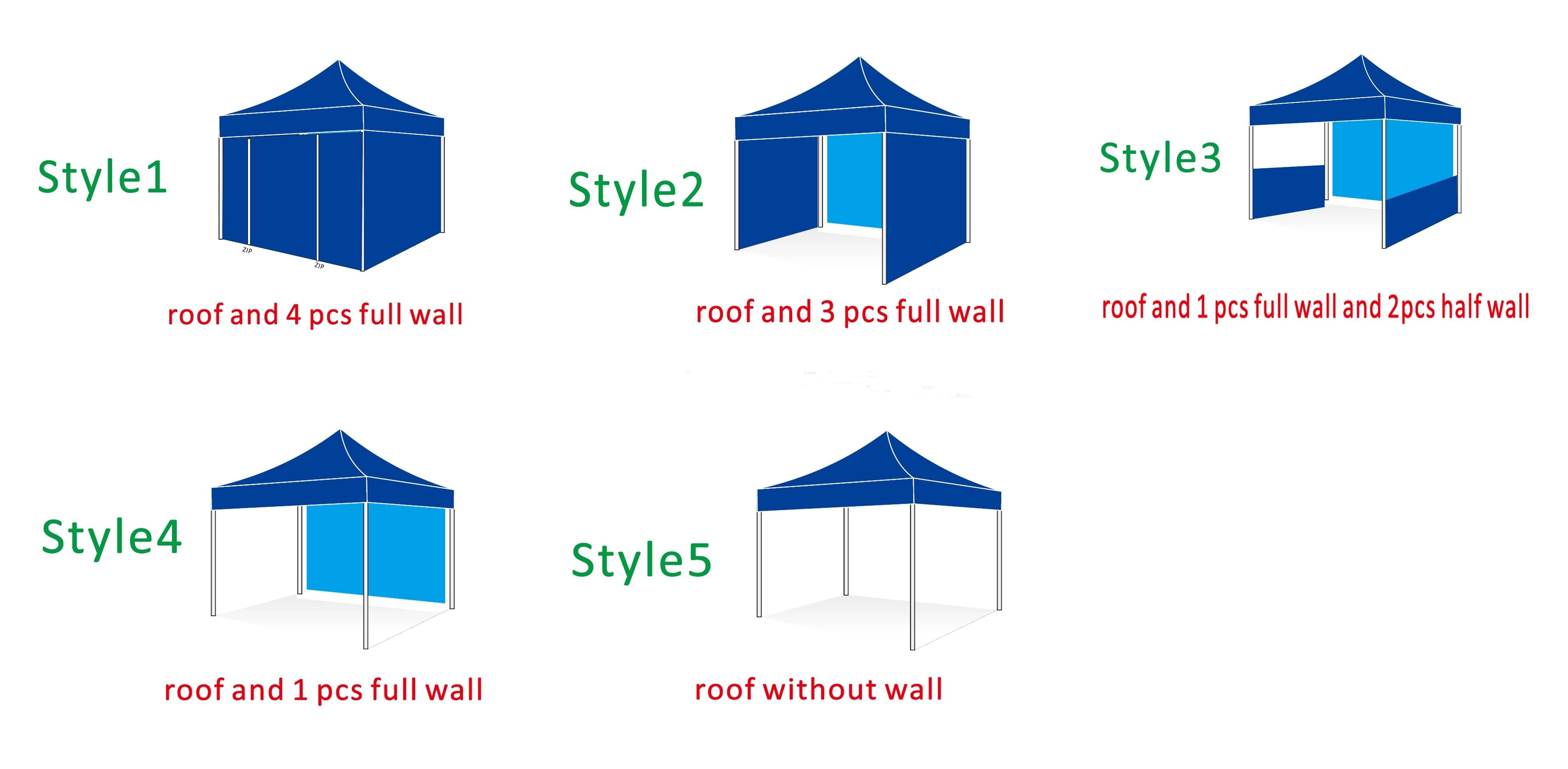 style of custom printed tents