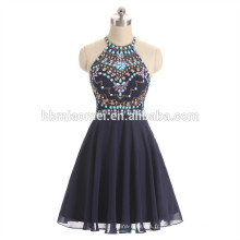 2017 nouvelle mode perlée robe de soirée bleu couleur licou conception soirée dîner robe en gros