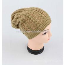 Mujeres de invierno de moda sólida de acrílico hecho ganchillo sombrero