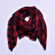 Popular European and American style women 140 * 140 acrylic square winter plaid blanket scarf