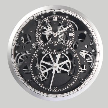 Серебряные часы с подвижным механизмом для отделки стен