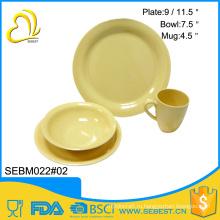 наиболее популярные желтый круглый бамбука меламиновые Западной посуда наборы