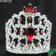 Venta al por mayor mini belleza rojo Rhinestone Tiara corona