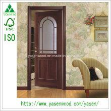 La Chine décorent la peau de porte de placage de bois français de Dooe de verre