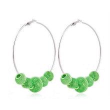 Hot sale fashion bead earrings large hoop bead ball earrings