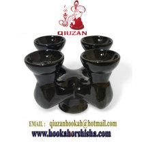 Quatre tête céramique cuvette bol/Shisha