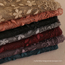 Elegant and fashionable lady scarf hijab with lace 7 colors cotton fabric embroidered scarf