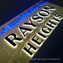 Custom Stainless steel back halo sign 3D backlit signs shop name board designs