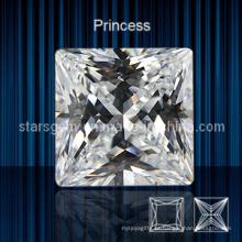 Cor Branca Quadrado Forma Princesa Corte Cubic Zirconia