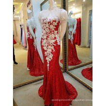 LS63554 Shinny dark red sequins mermaid light up girls evening gown with shawl dress prom dress