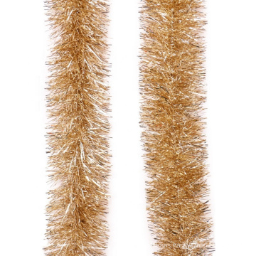 Gold Color PET tinsel Garland For Christmas Indoor Decoration