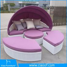 Venta caliente Nuevo Diseño Barato Ocio Sun Bed Garden Furniture Rattan