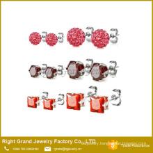 6mm 316L Stainless Steel Red Shamballa Earrings Cubic Zircon Ear Studs