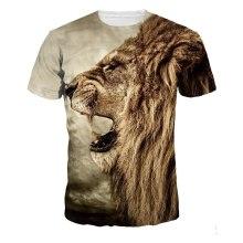 Lion print beach round neck cotton tshirt