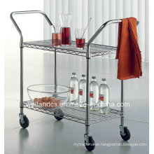 Removable Chrome Steel Dining Trolley for Hotel and Restaurant