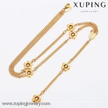 42420-Xuping joyería llena de oro de moda, encantos de joyas de cuentas con collar de flores