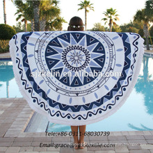 Diameter 1500mm 100 Cotton Printed Round Beach Towel with Fringes