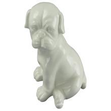 Animal Shaped Ceramic Craft, Crouching Dog with White Glaze