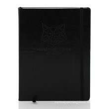 Custom A5 pu organizer planner Embossing logo Leather Hard Cover Notebook With Elastic Band