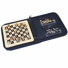 hot selling wooden travel chess pieces in PVC bag