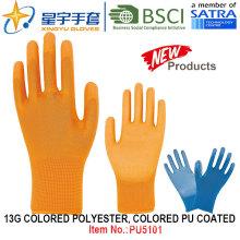 13G Color Poliéster Color Shell PU guantes revestidos (PU5101) con CE, En388, En420, guantes de trabajo