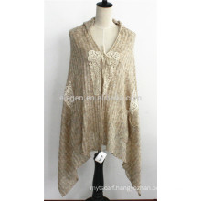 Lady's Acrylic Knitted Winter Poncho Cape Wrap with Lace