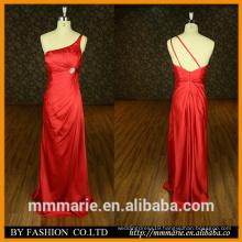 2016 Women Evening Dress New Designed One Shoulder Pleats Satin Sheath Long Red Women's evening Dress