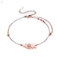 Double Layer Bead Custom Stainless Steel Rose Gold Elephant Bracelet